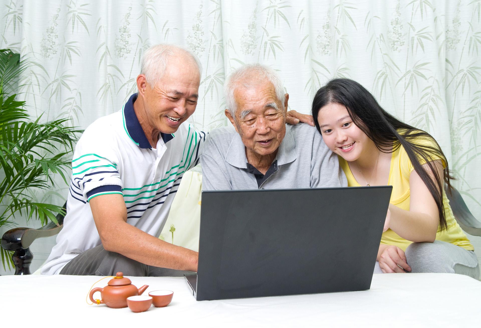 caregiver with senior mans