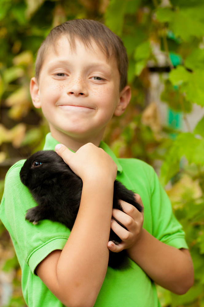 Child with black rabbit