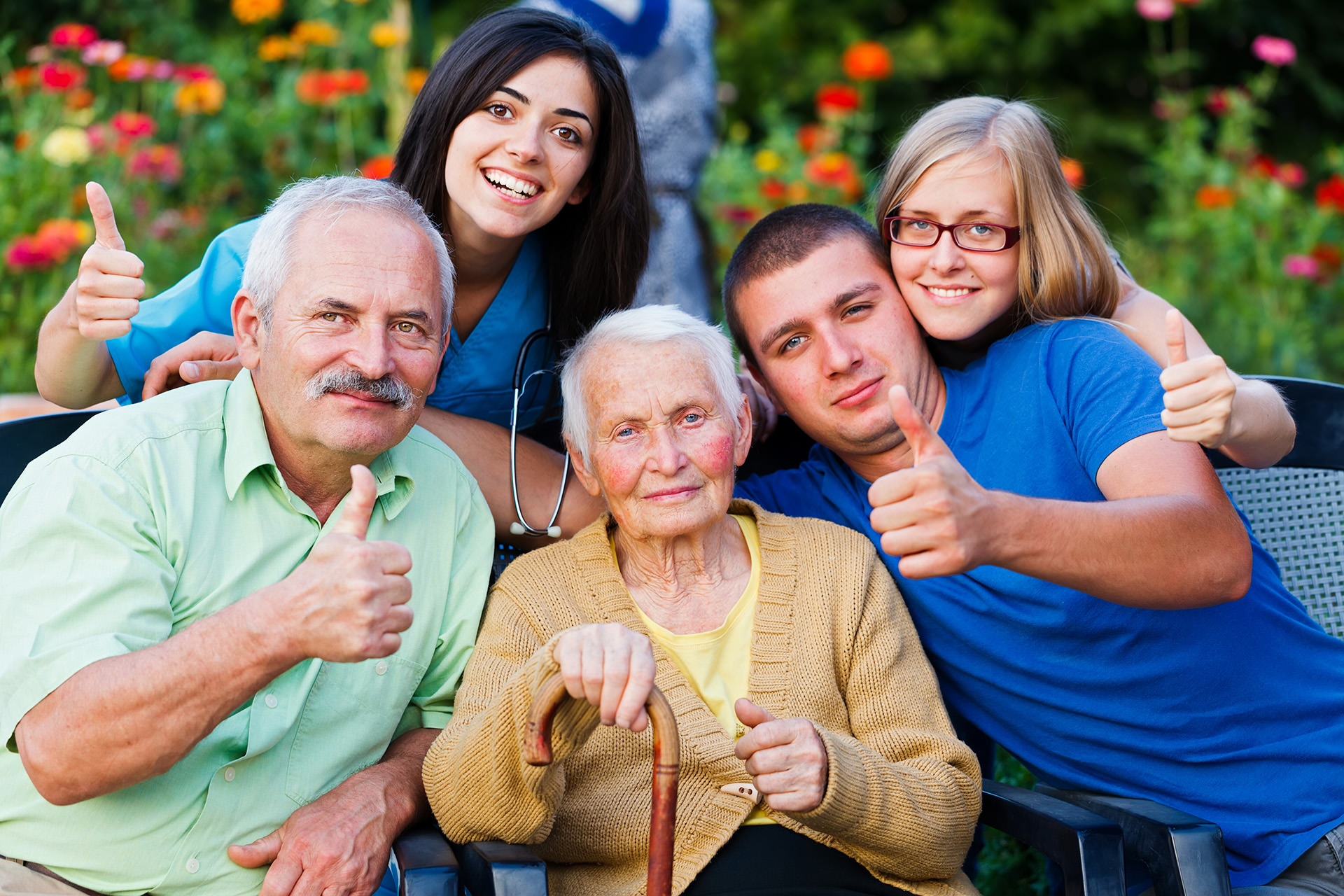 Happy  family with caregiver