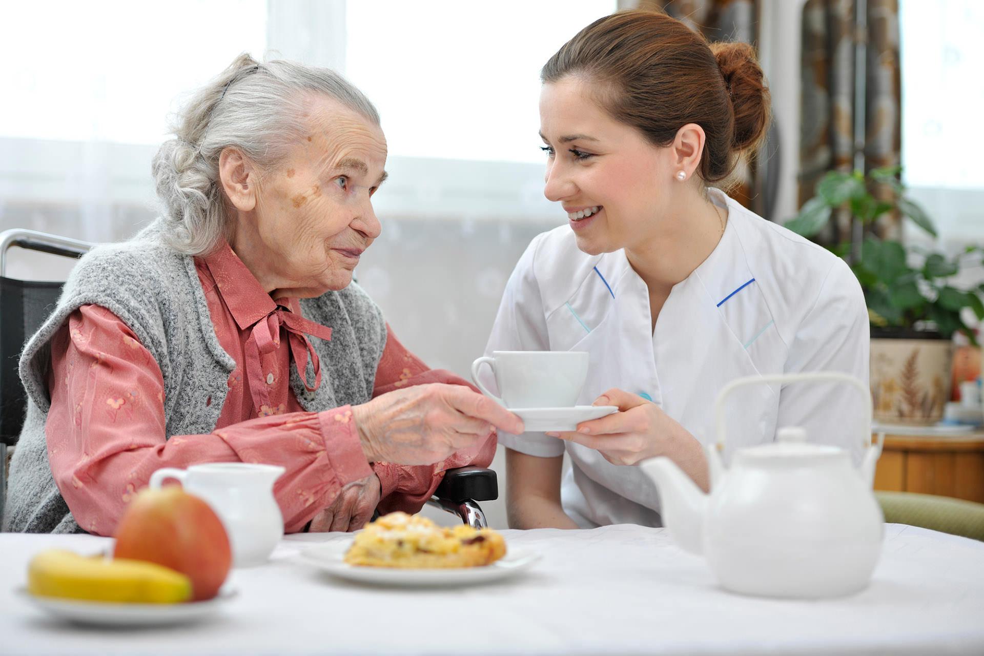 Senior lady with caetaker nurse